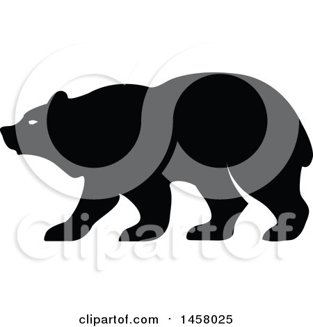 Clipart of a Black and White Bear Mascot in Profile - Royalty Free Vector Illustration by Vector Tradition SM