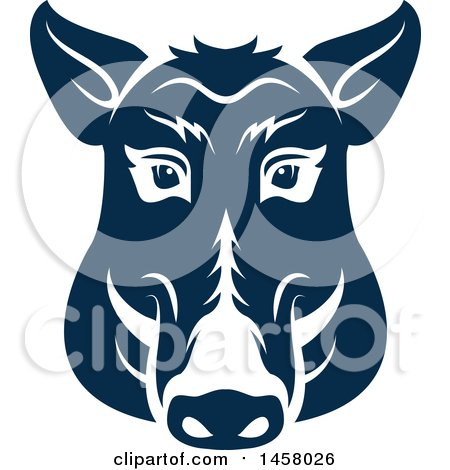 Clipart of a Blue Boar Mascot Face - Royalty Free Vector Illustration by Vector Tradition SM