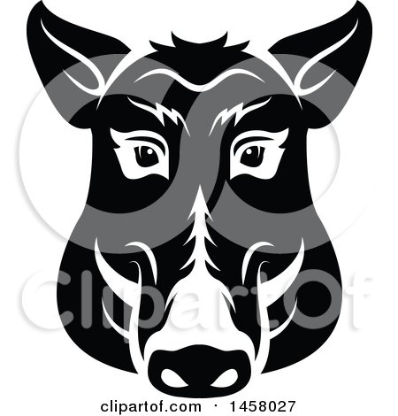 Clipart of a Black and White Boar Mascot Face - Royalty Free Vector Illustration by Vector Tradition SM