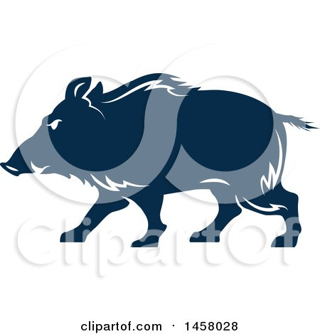 Clipart of a Blue Razorback Boar Mascot in Profile - Royalty Free Vector Illustration by Vector Tradition SM