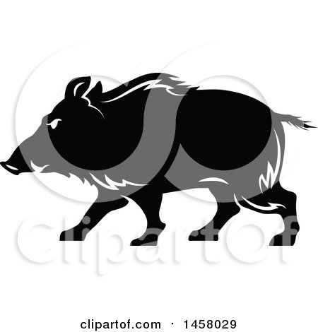 Clipart of a Black and White Razorback Boar Mascot in Profile - Royalty Free Vector Illustration by Vector Tradition SM