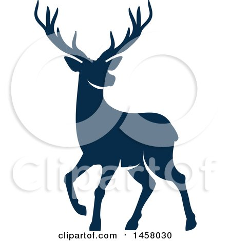 Clipart of a Blue Alert Buck Deer - Royalty Free Vector Illustration by Vector Tradition SM