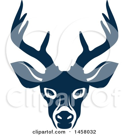 Clipart of a Blue Buck Deer Mascot Face - Royalty Free Vector Illustration by Vector Tradition SM