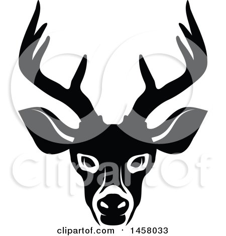 Clipart of a Black and White Buck Deer Mascot Face - Royalty Free Vector Illustration by Vector Tradition SM