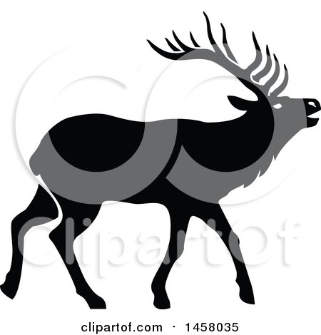 Clipart of a Black and White Elk - Royalty Free Vector Illustration by Vector Tradition SM