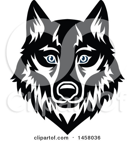Clipart of a Black and White Wolf Mascot Face - Royalty Free Vector Illustration by Vector Tradition SM