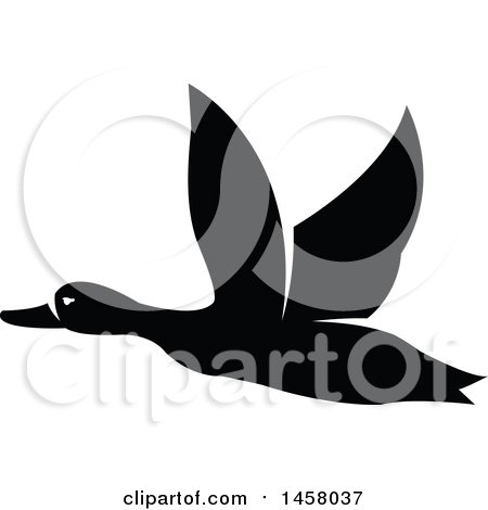 Clipart of a Black and White Flying Duck - Royalty Free Vector Illustration by Vector Tradition SM