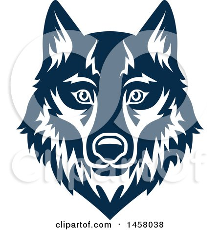 Clipart of a Blue Wolf Mascot Face - Royalty Free Vector Illustration by Vector Tradition SM