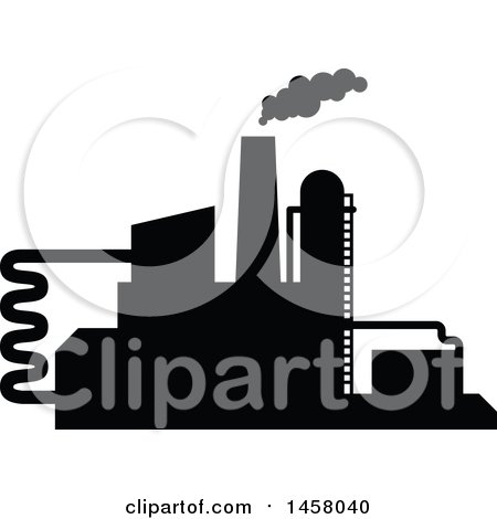 Clipart of a Black Silhouetted Factory - Royalty Free Vector Illustration by Vector Tradition SM