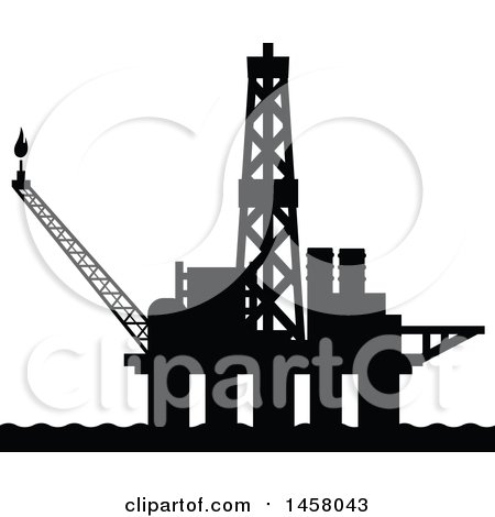 Clipart of a Black Silhouetted Oil Platform - Royalty Free Vector Illustration by Vector Tradition SM