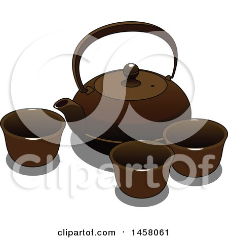 Clipart of a Japanese Teapot and Cups - Royalty Free Vector Illustration by Vector Tradition SM