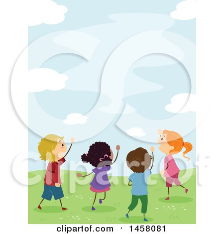 Clipart of a Group of Excited Kids Looking up at the Sky - Royalty Free Vector Illustration by BNP Design Studio