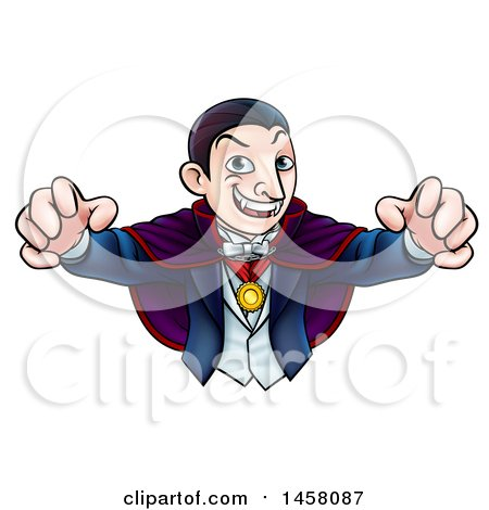 Clipart of a Cartoon Vampire Reaching out with His Hands - Royalty Free Vector Illustration by AtStockIllustration