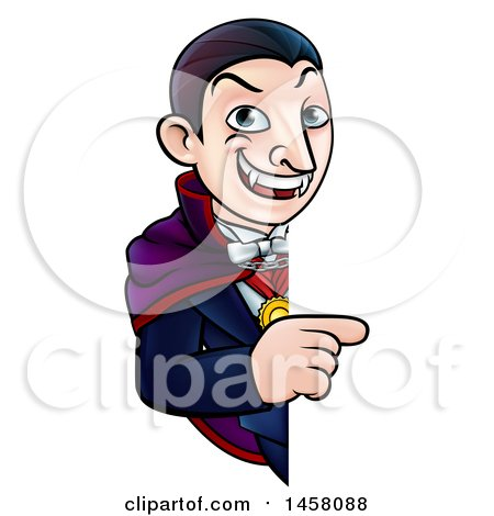 Clipart of a Cartoon Vampire Pointing Around a Sign - Royalty Free Vector Illustration by AtStockIllustration