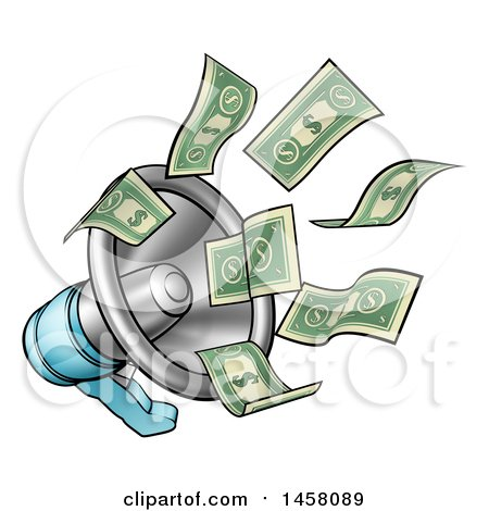 Clipart of Cartoon Money Flying out of a Megaphone - Royalty Free Vector Illustration by AtStockIllustration