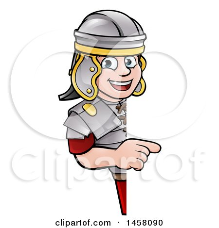 Clipart of a Cartoon Happy Roman Soldier Pointing Around a Sign - Royalty Free Vector Illustration by AtStockIllustration