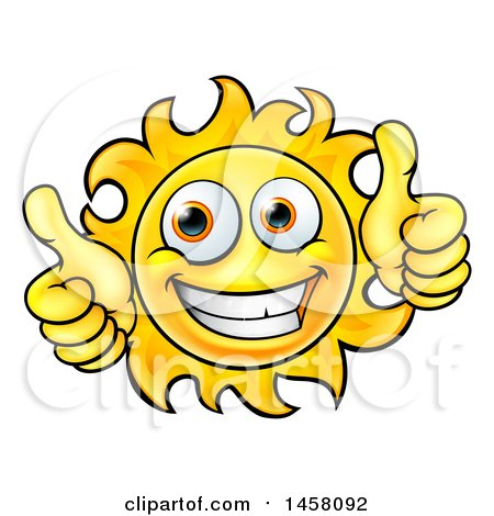 Clipart of a Cartoon Happy Sun Character Holding Two Thumbs up - Royalty Free Vector Illustration by AtStockIllustration