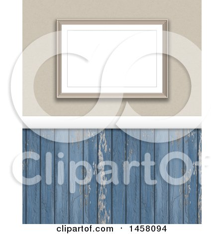 Clipart of a 3d Blank Picture Frame on a Wall with Distressed Blue Panels - Royalty Free Illustration by KJ Pargeter
