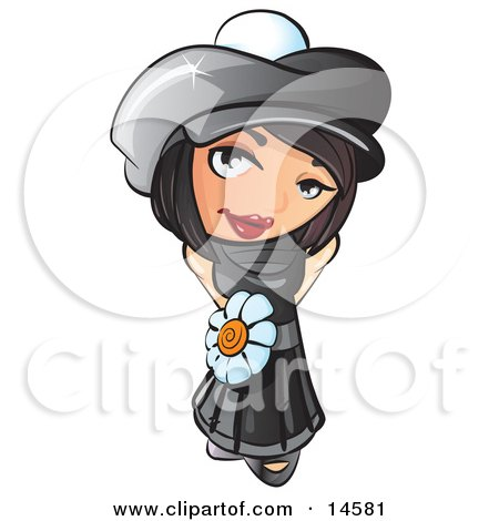 Sweet And Attractive Short Haired Brunette Woman In A Black Hat And Dress With A White Daisy Belt Clipart Illustration