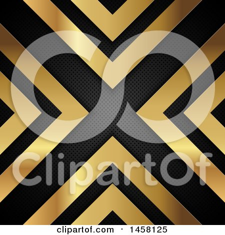 Clipart of a Background of Gold Arrows and Perforated Metal Forming an X - Royalty Free Vector Illustration by KJ Pargeter