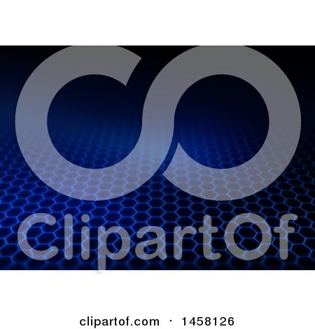 Clipart of a Blue Hexagon Grid Fading into Black - Royalty Free Illustration by KJ Pargeter