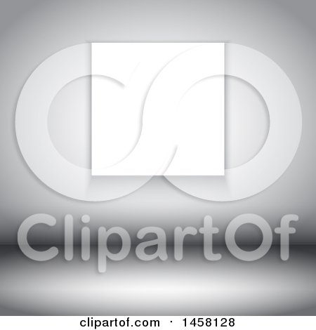 Clipart of a Grayscale Room Interior with a Blank Canvas on the Wall - Royalty Free Vector Illustration by KJ Pargeter