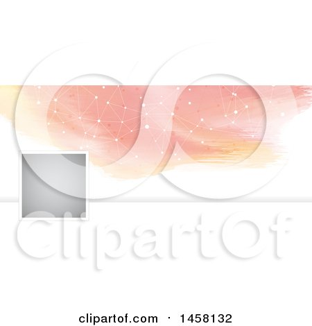 Clipart of a Watercolor and Connected Dots Social Media Cover Banner Design Element - Royalty Free Vector Illustration by KJ Pargeter