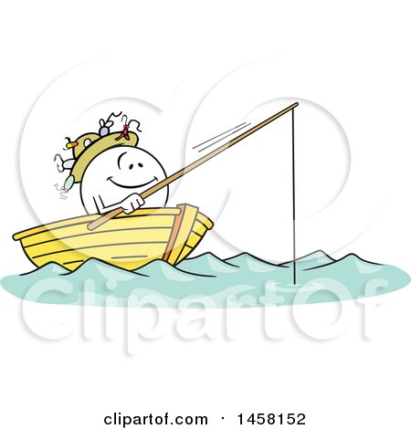 Clipart of a Cartoon Happy Moodie Character Fishing in a Boat - Royalty Free Vector Illustration by Johnny Sajem