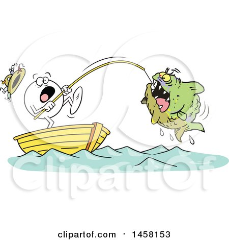 Clipart of a Cartoon Frightened Moodie Character Reeling in a Monster Fish While Fishing in a Boat - Royalty Free Vector Illustration by Johnny Sajem
