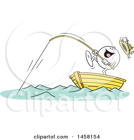 Clipart of a Cartoon Happy Moodie Character Catching a Big One While Fishing in a Boat - Royalty Free Vector Illustration by Johnny Sajem
