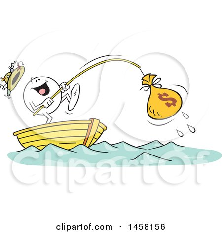 Clipart of a Cartoon Happy Moodie Character Catching a Money Bag While Fishing in a Boat - Royalty Free Vector Illustration by Johnny Sajem