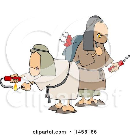 Clipart of Suspsicious Men Lighting Dynamite - Royalty Free Vector Illustration by djart