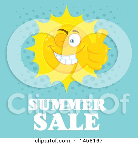 Clipart of a Happy Sun Mascot Giving a Thumb up and Winking over Summer Sale Text on Blue - Royalty Free Vector Illustration by Hit Toon