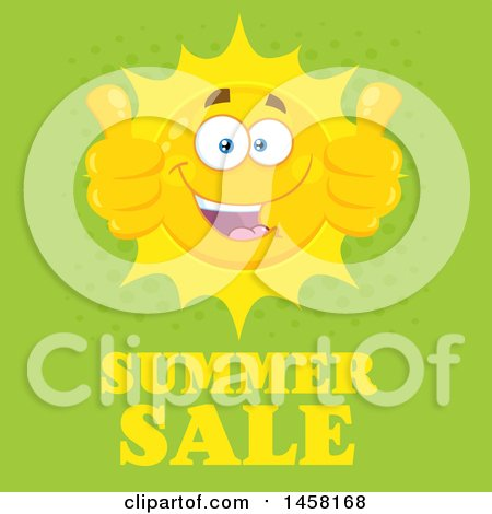 Clipart of a Happy Sun Mascot Giving Two Thumbs up over Summer Sale Text on Green - Royalty Free Vector Illustration by Hit Toon