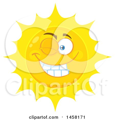 Clipart of a Winking Sun Mascot - Royalty Free Vector Illustration by Hit Toon