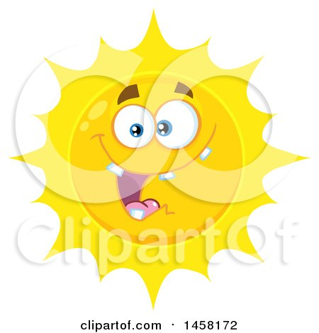 Clipart of a Goofy Sun Mascot - Royalty Free Vector Illustration by Hit Toon