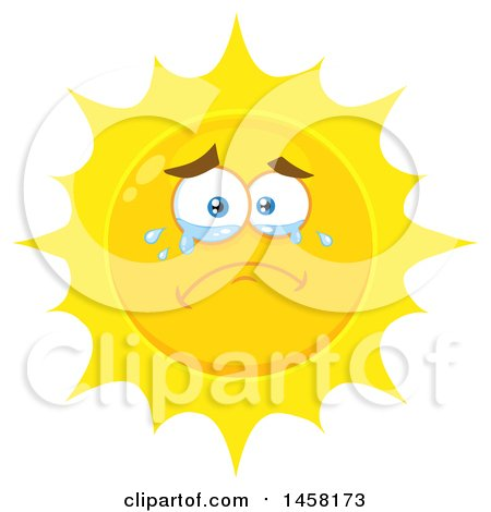 Clipart of a Crying Sun Mascot - Royalty Free Vector Illustration by Hit Toon
