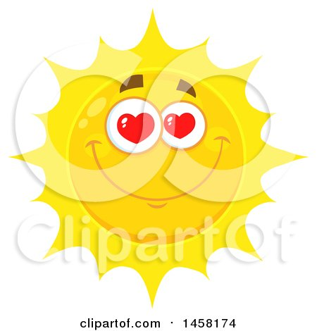 Clipart of a Loving Sun Mascot - Royalty Free Vector Illustration by Hit Toon