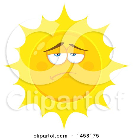 Clipart of a Depressed Sun Mascot - Royalty Free Vector Illustration by Hit Toon