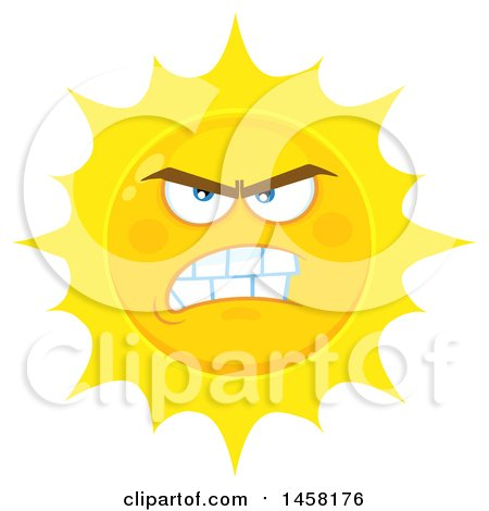 Clipart of a Mean Sun Mascot - Royalty Free Vector Illustration by Hit Toon