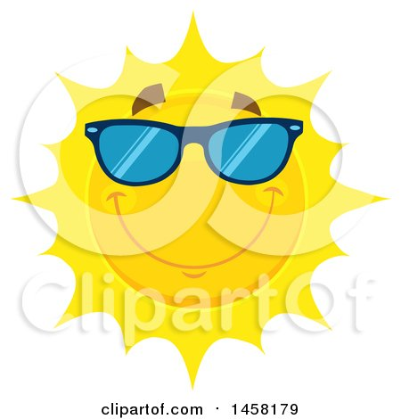 Clipart of a Happy Sun Mascot Wearing Shades - Royalty Free Vector Illustration by Hit Toon