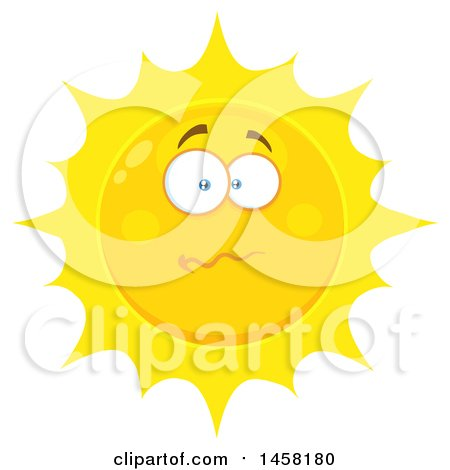 Clipart of a Stressed Sun Mascot - Royalty Free Vector Illustration by Hit Toon