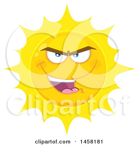 Clipart of a Bully Sun Mascot - Royalty Free Vector Illustration by Hit Toon
