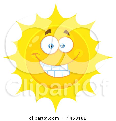 Clipart of a Grinning Sun Mascot - Royalty Free Vector Illustration by Hit Toon
