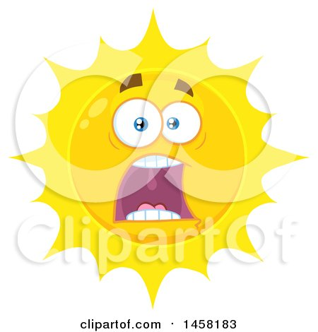 Clipart of a Screaming Sun Mascot - Royalty Free Vector Illustration by Hit Toon