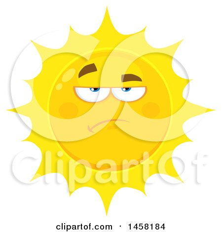 Clipart of a Bored or Annoyed Sun Mascot - Royalty Free Vector Illustration by Hit Toon