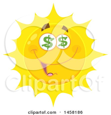 Clipart of a Greedy Sun Mascot - Royalty Free Vector Illustration by Hit Toon