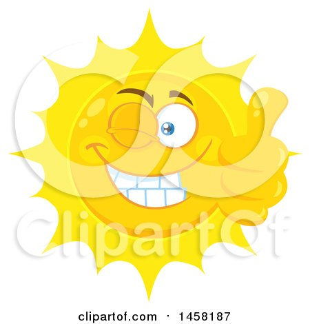 Clipart of a Happy Sun Mascot Giving a Thumb up and Winking - Royalty Free Vector Illustration by Hit Toon