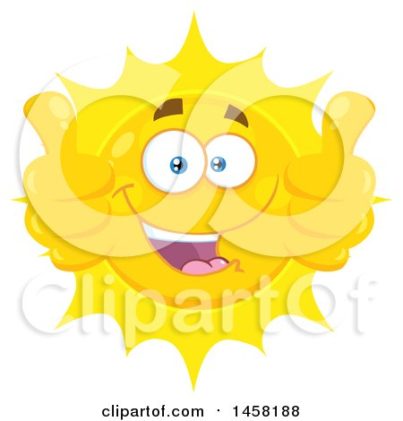 Clipart of a Happy Sun Mascot Giving Two Thumbs up - Royalty Free Vector Illustration by Hit Toon