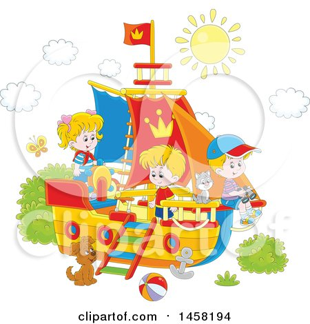 Clipart of a Group of Children Playing on a Boat - Royalty Free Vector Illustration by Alex Bannykh